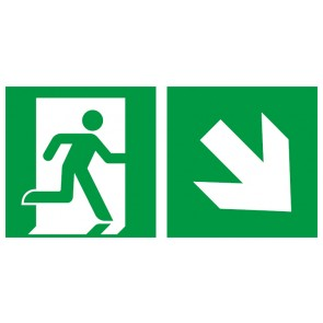 Aufkleber Rettungszeichen Fluchtrichtung Pfeil nach rechts unten