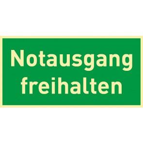 Schild Rettungszeichen Notausgang freihalten · NACHLEUCHTEND