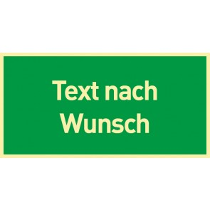 Schild Rettungszeichen Text nach Wunsch · NACHLEUCHTEND