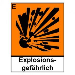 Klebeschild Gefahrstoffzeichen explosionsgefährlich Hazard_E