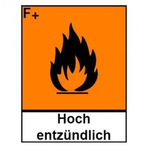 Klebeschild Gefahrstoffzeichen hochentzündlich Hazard_F