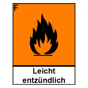 Schild Gefahrstoffzeichen leichtentzündlich Hazard_F (Piktogramm+Text)