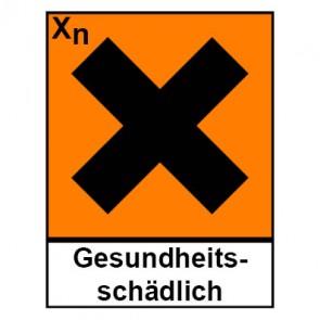 Schild Gefahrstoffzeichen gesundheitsschädlich Hazard_X (Piktogramm+Text)