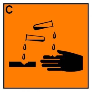 Schild Gefahrstoffzeichen ätzend Hazard_C