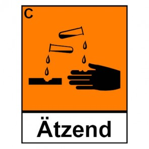 Schild Gefahrstoffzeichen ätzend Hazard_C (Piktogramm+Text)