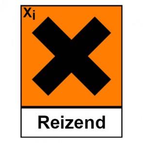 Klebeschild Gefahrstoffzeichen reizend Hazard_X