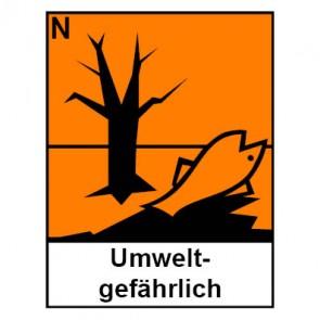 Aufkleber Gefahrstoffzeichen umweltgefährlich Hazard_N (Piktogramm+Text) | stark haftend