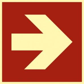 Brandschutzzeichen Schild Pfeil Richtungsangabe gerade · NACHLEUCHTEND