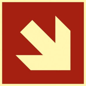Brandschutzzeichen Schild Pfeil Richtungsangabe schräg · NACHLEUCHTEND
