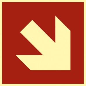 Brandschutzzeichen Pfeil Richtungsangabe schräg · NACHLEUCHTEND · MAGNETSCHILD