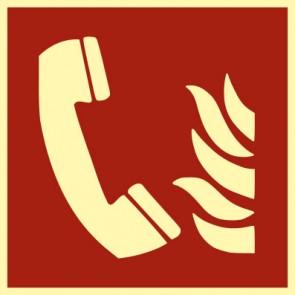 Brandschutzzeichen Schild Brandmeldetelefon · NACHLEUCHTEND