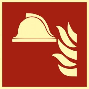 Brandschutzzeichen Schild Mittel und Geräte zur Brandbekämpfung · NACHLEUCHTEND