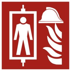 Aufkleber Brandschutz Feuerwehraufzug ISO7010
