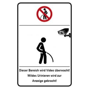 Schild Bereich Video überwacht · Wildes Urinieren wird zur Anzeige gebracht