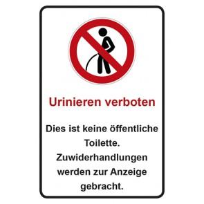 Schild Urinieren verboten · Dies ist keine öffentliche Toilette