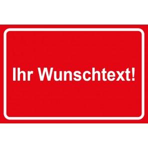 Baustellenschild Wunschtext | rot · weiß