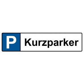 Kennzeichenschild Kurzparker