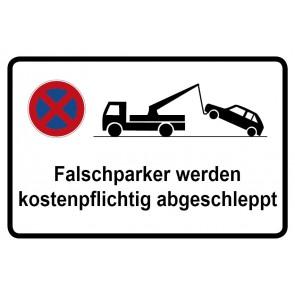 Parkverbotsschild Falschparker werden kostenpflichtig abgeschleppt · MAGNETSCHILD (Magnetfolie)