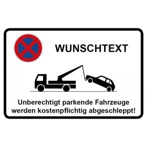 Aufkleber Parkverbotsschild WUNSCHTEXT