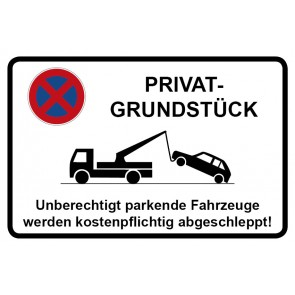 Parkverbotsschild Privatgrundstück · MAGNETSCHILD (Magnetfolie)