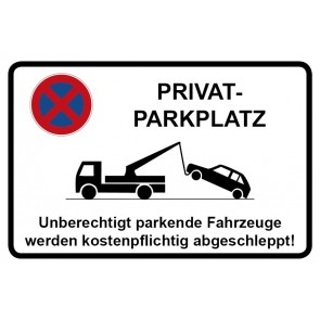 Aufkleber Parkverbotsschild Privatparkplatz