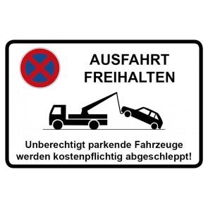 Aufkleber Parkverbotsschild Ausfahrt freihalten