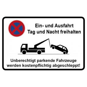 Parkverbotsschild Ein und Ausfahrt Tag und Nacht freihalten · MAGNETSCHILD (Magnetfolie)