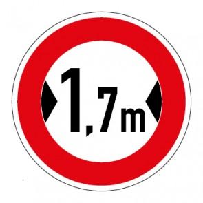 Schild Verkehrszeichen Durchfahrtsbreite  1,7 Meter