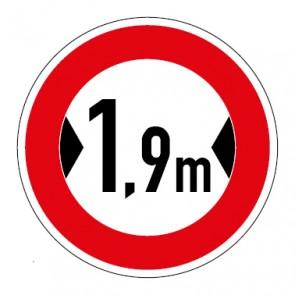 Schild Verkehrszeichen Durchfahrtsbreite  1,9 Meter