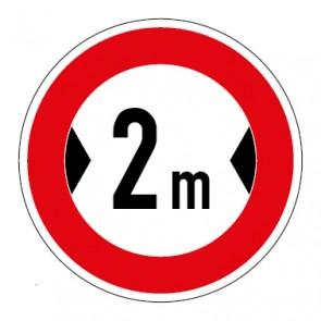 Schild Verkehrszeichen Durchfahrtsbreite  2 Meter
