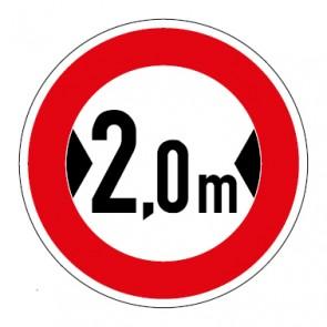 Aufkleber Verkehrszeichen Durchfahrtsbreite 2,0 Meter