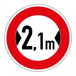 Schild Verkehrszeichen Durchfahrtsbreite  2,1 Meter