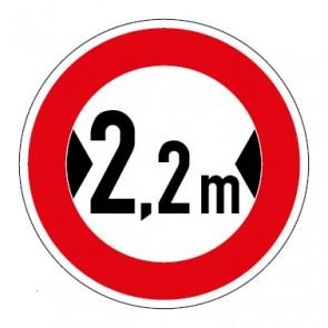 Schild Verkehrszeichen Durchfahrtsbreite  2,2 Meter