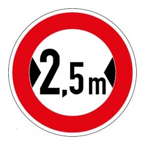 Schild Verkehrszeichen Durchfahrtsbreite  2,5 Meter