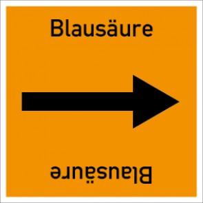 Rohrleitungskennzeichnung viereckig Blausäure · Aluminium-Schild