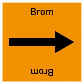 Rohrleitungskennzeichnung viereckig Brom · Aluminium-Schild
