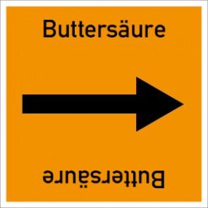 Rohrleitungskennzeichnung viereckig Buttersäure · Aluminium-Schild