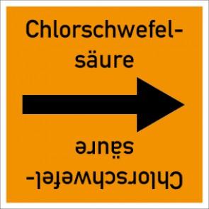 Rohrleitungskennzeichnung viereckig Chlorschwefelsäure · Aluminium-Schild