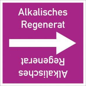 Rohrleitungskennzeichnung viereckig Alkalisches Regenerat · Aluminium-Schild