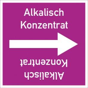 Rohrleitungskennzeichnung viereckig Alkalisch Konzentrat · Aluminium-Schild