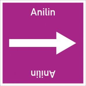 Rohrleitungskennzeichnung viereckig Anilin · Aluminium-Schild