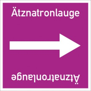 Rohrleitungskennzeichnung viereckig Ätznatronlauge · Aluminium-Schild