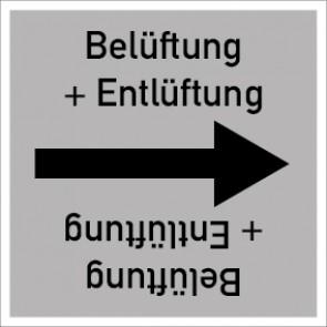 Rohrleitungskennzeichnung viereckig Belüftung + Entlüftung · Aufkleber