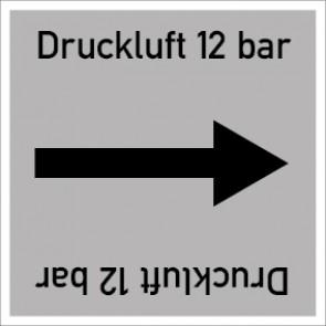 Rohrleitungskennzeichnung viereckig Druckluft 12 bar · Aufkleber