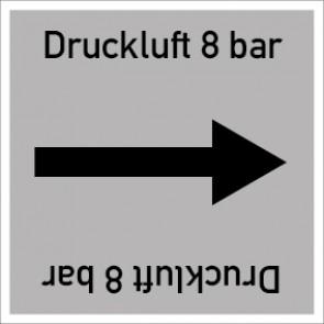 Rohrleitungskennzeichnung viereckig Druckluft 8 bar · Aufkleber