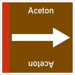 Rohrleitungskennzeichnung viereckig Aceton · Aluminium-Schild