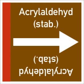 Rohrleitungskennzeichnung viereckig Acrylaldehyd (stab.) · Aluminium-Schild