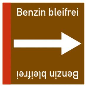 Rohrleitungskennzeichnung viereckig Benzin bleifrei · Aluminium-Schild