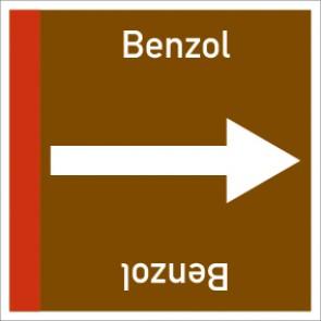 Rohrleitungskennzeichnung viereckig Benzol · Aluminium-Schild