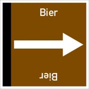 Rohrleitungskennzeichnung viereckig Bier · Aluminium-Schild
